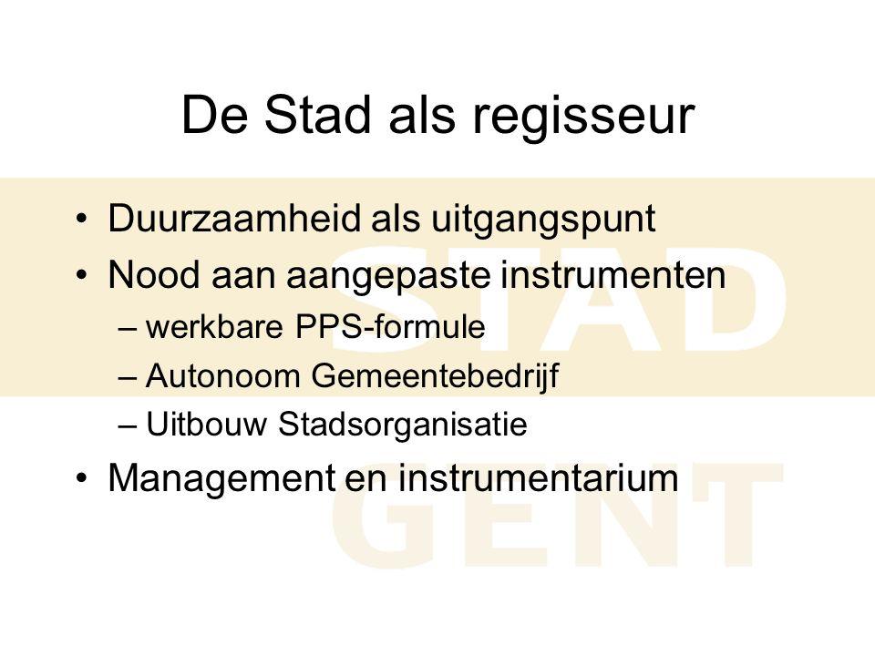 Organisatie - PPS gestoeld op vertrouwen Zuidelijke site Private ontwikkelaar •Bodem- en grondwatersanering •Sloop bestaande bebouwing •Verkoop KMO-zone aan AG SOB (september 2002) •Verkoop parkzone aan AG SOB (september 2003) Stad Gent (AG SOB) •Aanleg wegenis en buurtparkings (2003) •Aanleg buffers en groen (2007 •Verkoop na screening via typecontract aan bedrijven mits stringente voorwaarden (recht op terugkoop, toestemming stad voor elke doorverkoop/verhuur,….)