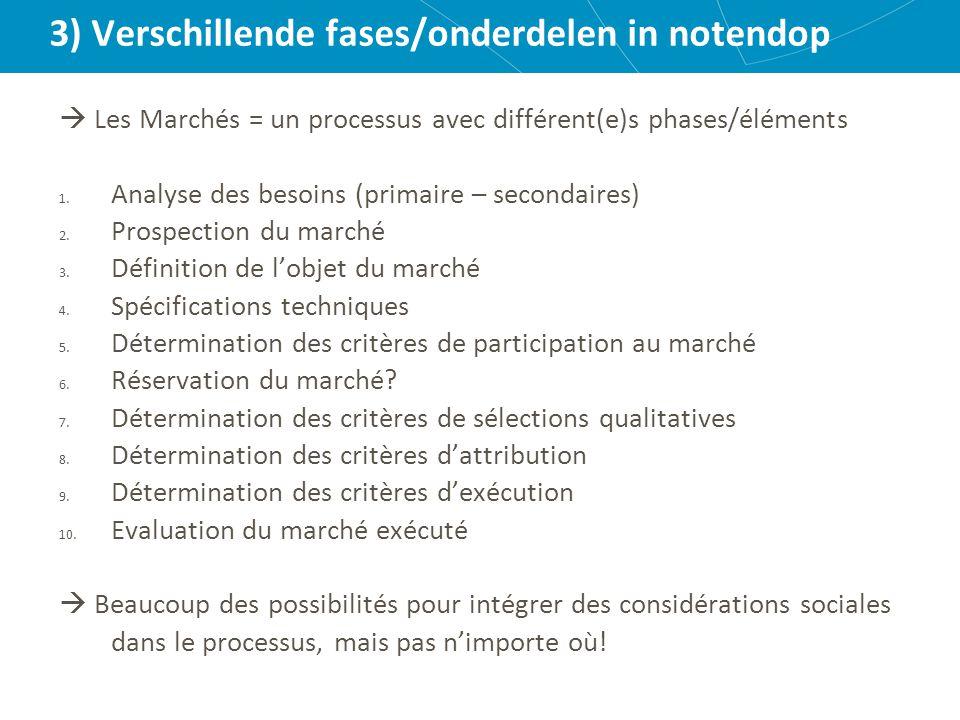 3) Verschillende fases/onderdelen in notendop  Les Marchés = un processus avec différent(e)s phases/éléments 1.