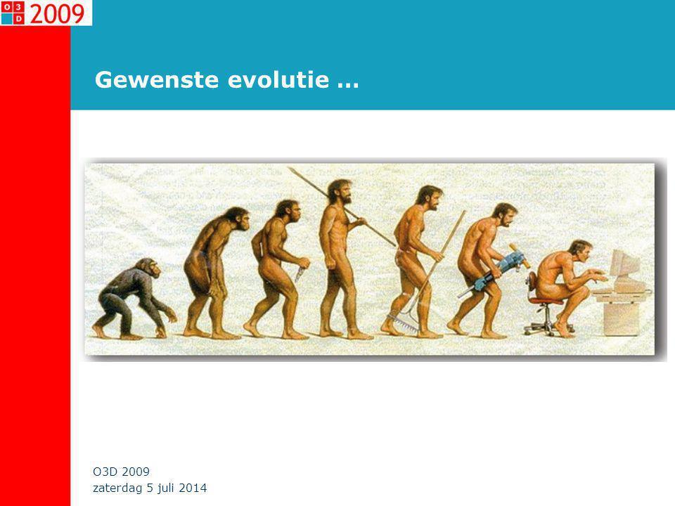 zaterdag 5 juli 2014 O3D 2009 Gewenste evolutie …