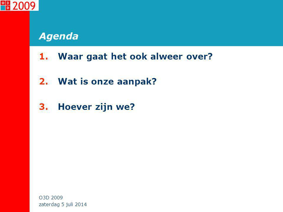 zaterdag 5 juli 2014 O3D 2009 Agenda 1.Waar gaat het ook alweer over.