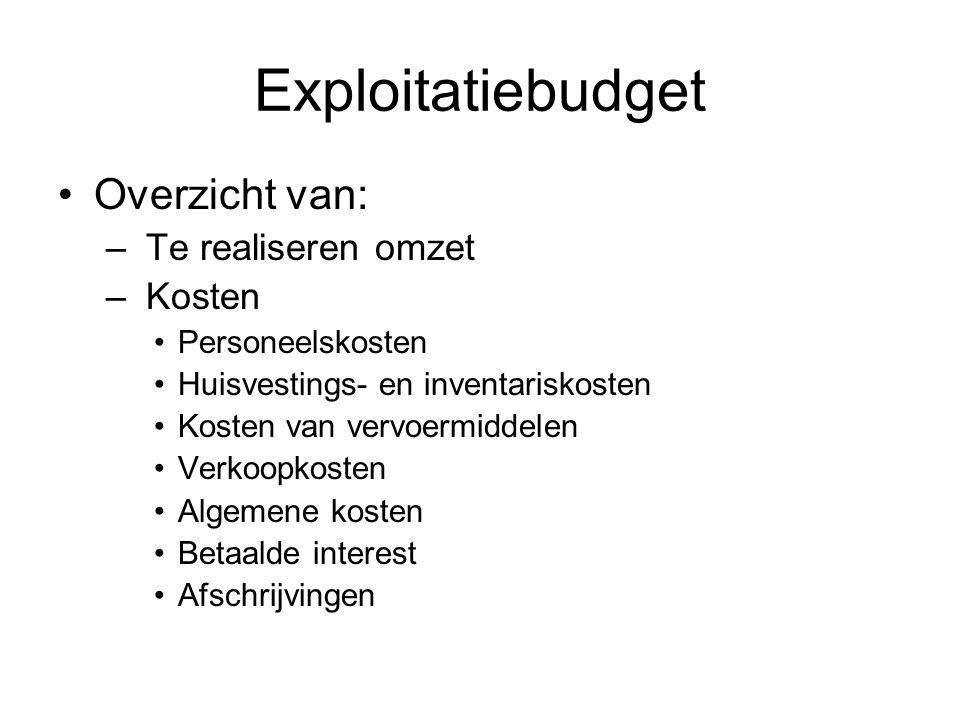 Exploitatiebudget •Overzicht van: – Te realiseren omzet – Kosten •Personeelskosten •Huisvestings- en inventariskosten •Kosten van vervoermiddelen •Ver