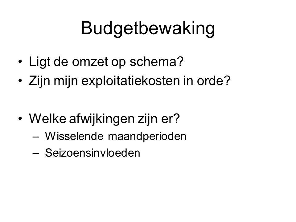 Budgetbewaking •Ligt de omzet op schema? •Zijn mijn exploitatiekosten in orde? •Welke afwijkingen zijn er? – Wisselende maandperioden – Seizoensinvloe
