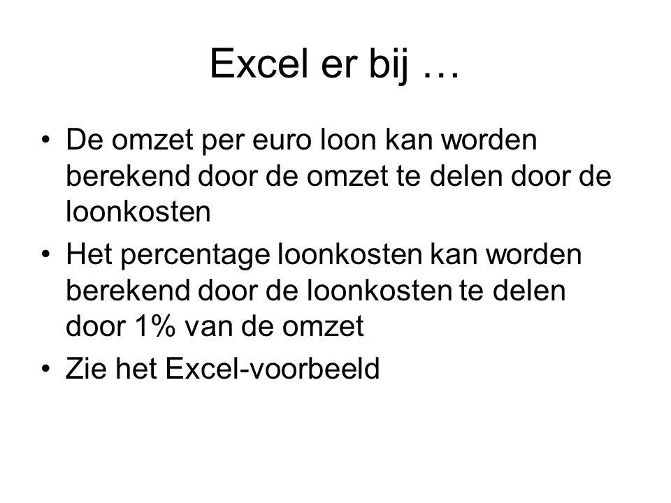 Excel er bij … •De omzet per euro loon kan worden berekend door de omzet te delen door de loonkosten •Het percentage loonkosten kan worden berekend do