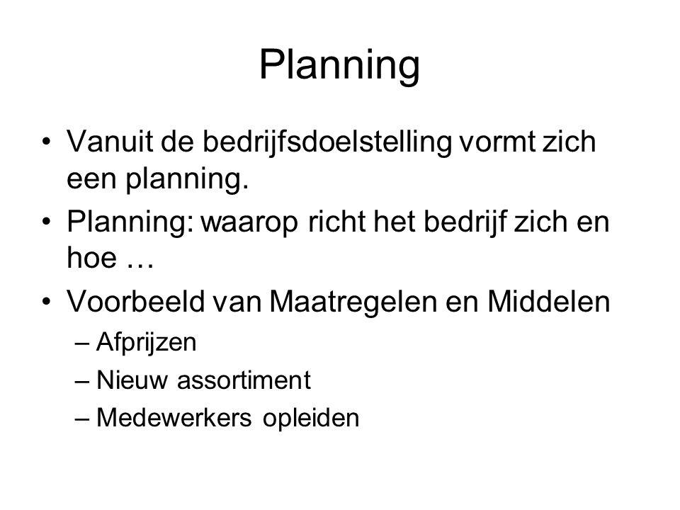Planning •Vanuit de bedrijfsdoelstelling vormt zich een planning. •Planning: waarop richt het bedrijf zich en hoe … •Voorbeeld van Maatregelen en Midd