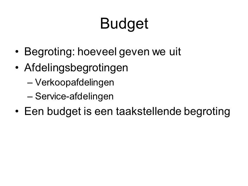 Budget •Begroting: hoeveel geven we uit •Afdelingsbegrotingen –Verkoopafdelingen –Service-afdelingen •Een budget is een taakstellende begroting