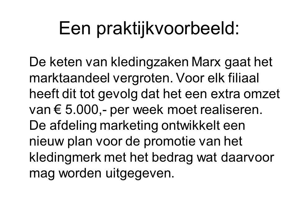 Een praktijkvoorbeeld: De keten van kledingzaken Marx gaat het marktaandeel vergroten. Voor elk filiaal heeft dit tot gevolg dat het een extra omzet v