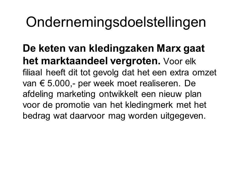 Ondernemingsdoelstellingen De keten van kledingzaken Marx gaat het marktaandeel vergroten. Voor elk filiaal heeft dit tot gevolg dat het een extra omz
