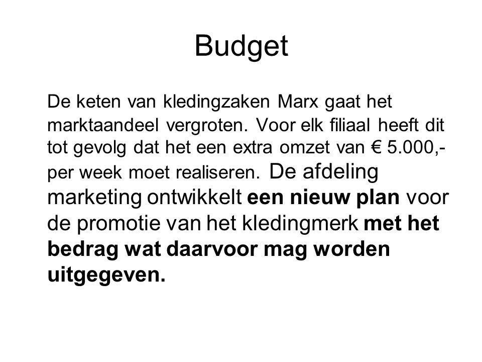 Budget De keten van kledingzaken Marx gaat het marktaandeel vergroten. Voor elk filiaal heeft dit tot gevolg dat het een extra omzet van € 5.000,- per