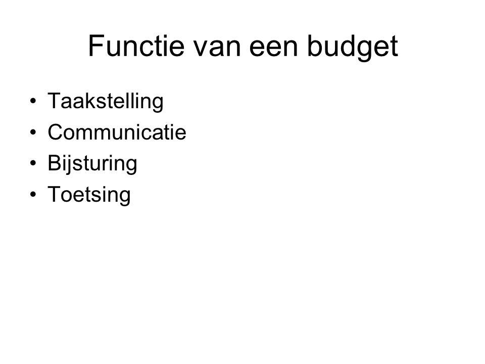 Functie van een budget •Taakstelling •Communicatie •Bijsturing •Toetsing