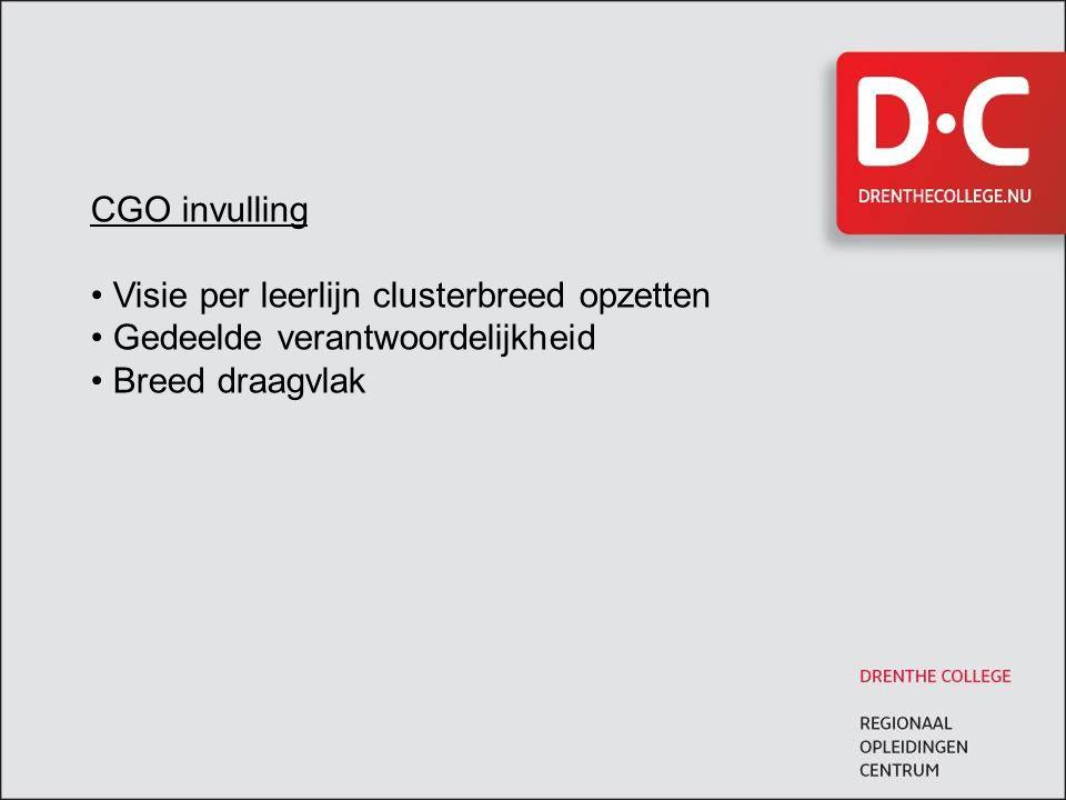 CGO invulling • Visie per leerlijn clusterbreed opzetten • Gedeelde verantwoordelijkheid • Breed draagvlak