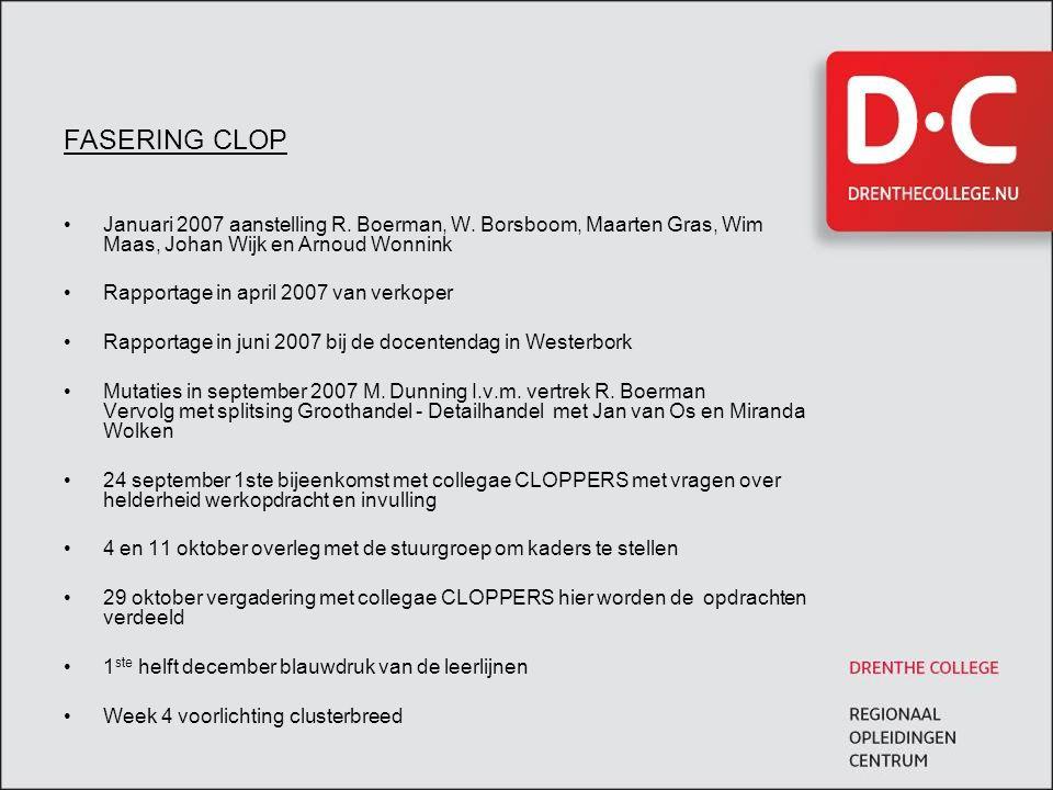FASERING CLOP •Januari 2007 aanstelling R. Boerman, W. Borsboom, Maarten Gras, Wim Maas, Johan Wijk en Arnoud Wonnink •Rapportage in april 2007 van ve