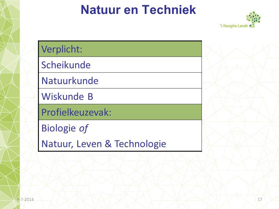 5-7-201417 Natuur en Techniek Verplicht: Scheikunde Natuurkunde Wiskunde B Profielkeuzevak: Biologie of Natuur, Leven & Technologie
