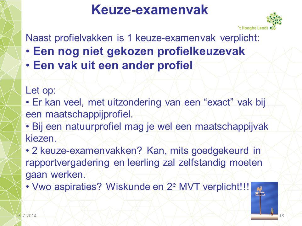 5-7-201418 Keuze-examenvak Naast profielvakken is 1 keuze-examenvak verplicht: • Een nog niet gekozen profielkeuzevak • Een vak uit een ander profiel
