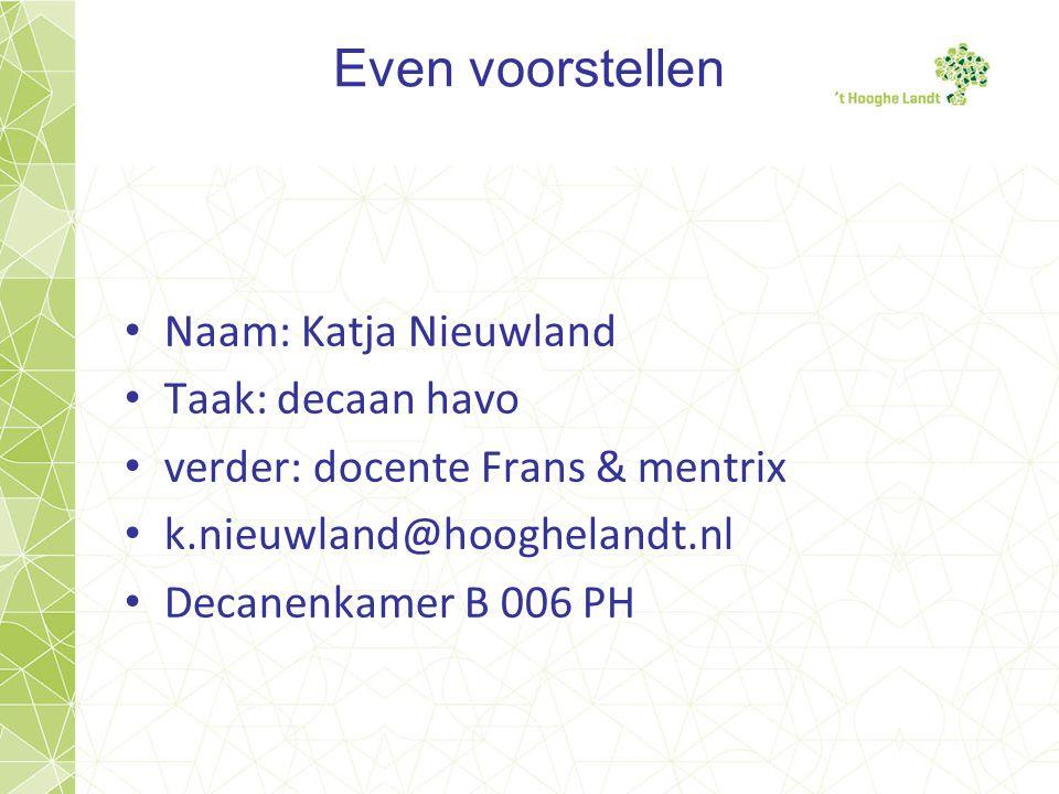 Even voorstellen • Naam: Katja Nieuwland • Taak: decaan havo • verder: docente Frans & mentrix • k.nieuwland@hooghelandt.nl • Decanenkamer B 006 PH