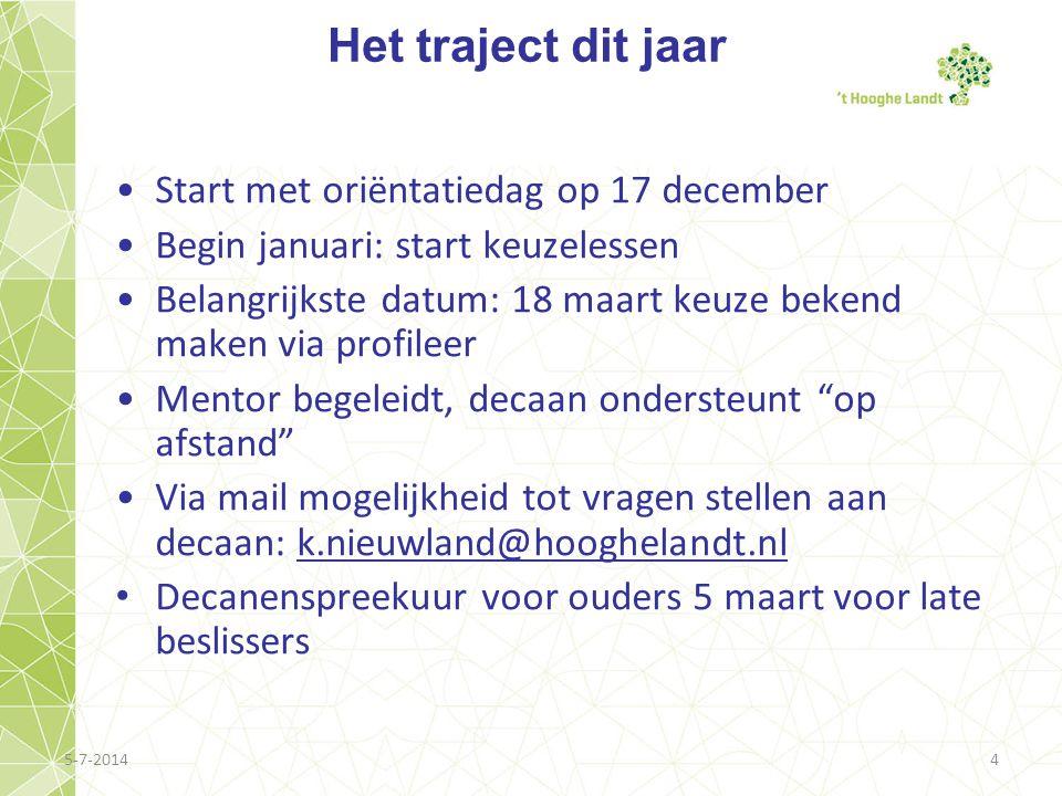 5-7-20144 Het traject dit jaar •Start met oriëntatiedag op 17 december •Begin januari: start keuzelessen •Belangrijkste datum: 18 maart keuze bekend m