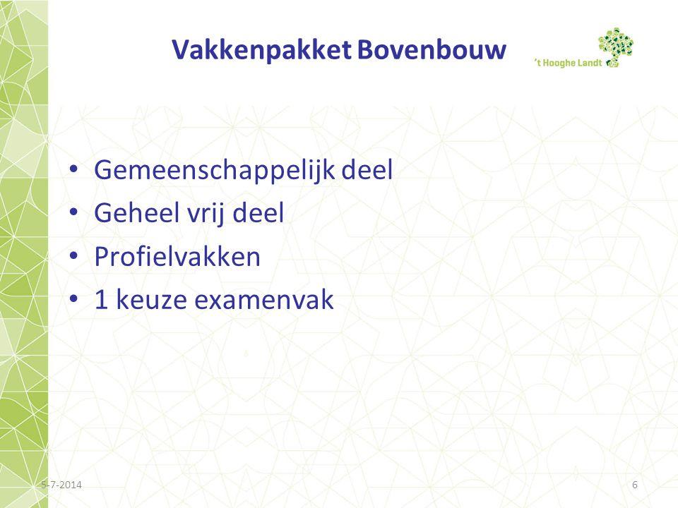 Vakkenpakket Bovenbouw • Gemeenschappelijk deel • Geheel vrij deel • Profielvakken • 1 keuze examenvak 5-7-20146