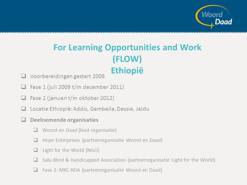  Voorbereidingen gestart 2008  Fase 1 (juli 2009 t/m december 2011)  Fase 2 (januari t/m oktober 2012)  Locatie Ethiopië: Addis, Gambella, Dessie, Jeldu  Deelnemende organisaties  Woord en Daad (lead organisatie)  Hope Enterprises (partnerorganisatie Woord en Daad)  Light for the World (NGO)  Salu Blind & Handicapped Association (partnerorganisatie Light for the World)  Fase 2: MKC-RDA (partnerorganisatie Woord en Daad) For Learning Opportunities and Work (FLOW) Ethiopië