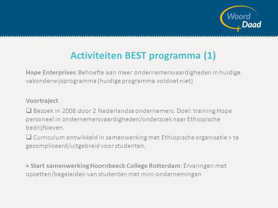 Hope Enterprises: Behoefte aan meer ondernemersvaardigheden in huidige vakonderwijsprogramma (huidige programma voldoet niet) Voortraject  Bezoek in 2008 door 2 Nederlandse ondernemers.