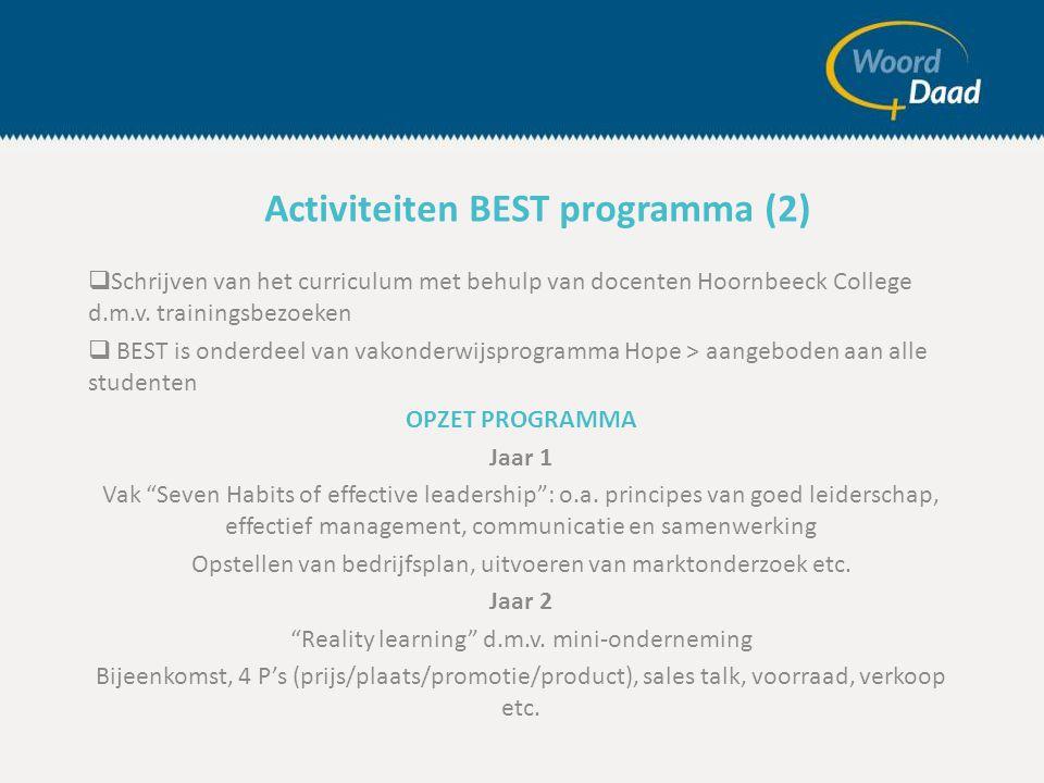  Schrijven van het curriculum met behulp van docenten Hoornbeeck College d.m.v.