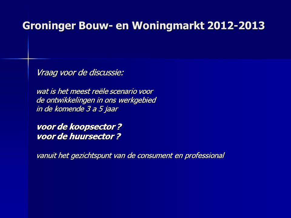 Groninger Bouw- en Woningmarkt 2012-2013 Vraag voor de discussie: wat is het meest reële scenario voor de ontwikkelingen in ons werkgebied in de komende 3 a 5 jaar voor de koopsector .