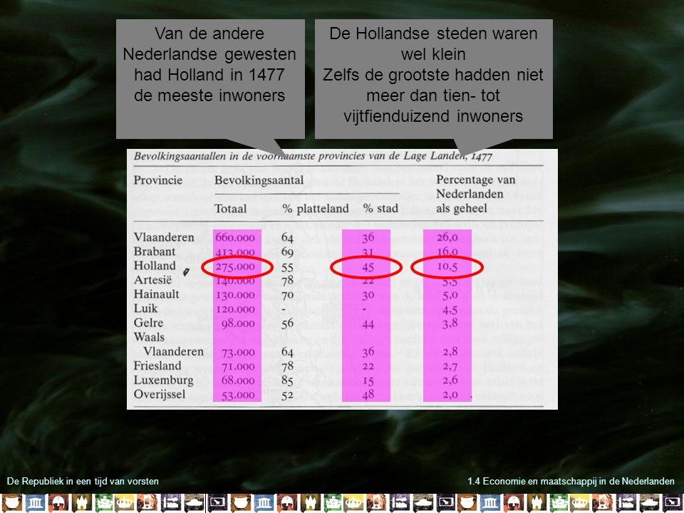 De Republiek in een tijd van vorsten1.4 Economie en maatschappij in de Nederlanden Van de andere Nederlandse gewesten had Holland in 1477 de meeste inwoners De Hollandse steden waren wel klein Zelfs de grootste hadden niet meer dan tien- tot vijtfienduizend inwoners