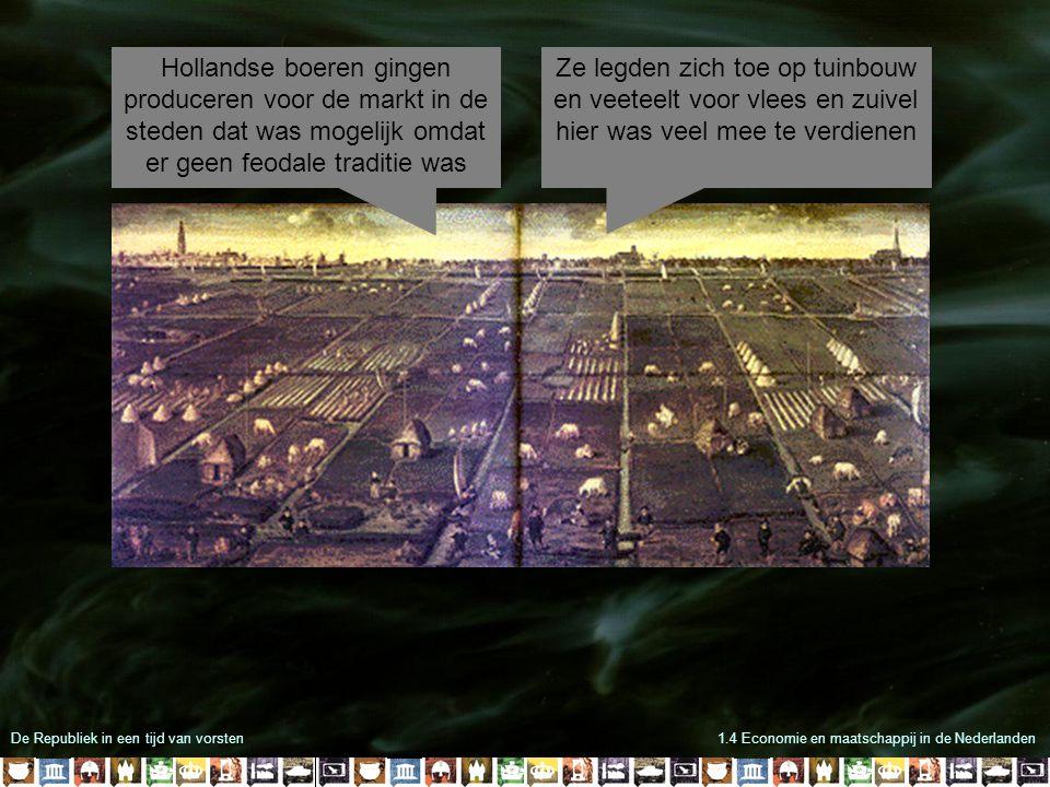 De Republiek in een tijd van vorsten1.4 Economie en maatschappij in de Nederlanden Hollandse boeren gingen produceren voor de markt in de steden dat w