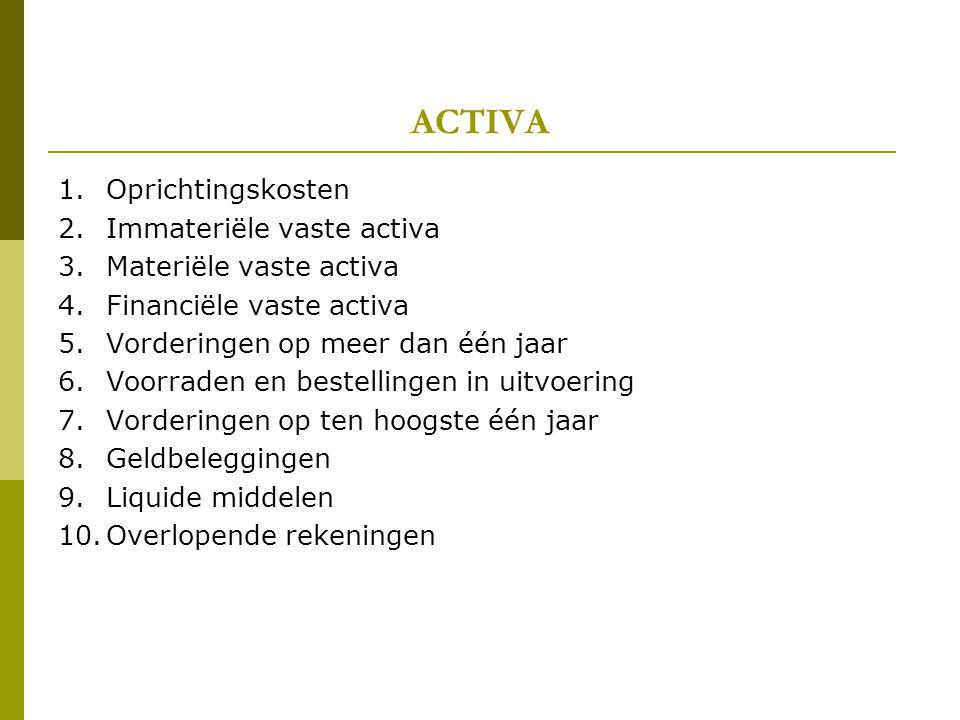 ACTIVA 1.Oprichtingskosten 2.Immateriële vaste activa 3.Materiële vaste activa 4.Financiële vaste activa 5.Vorderingen op meer dan één jaar 6.Voorrade
