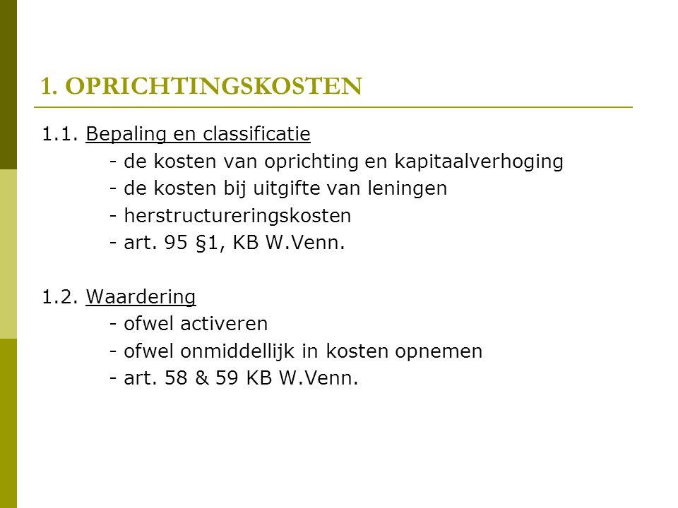 1.OPRICHTINGSKOSTEN 1.2. Waardering - Waardering aan aanschaffingswaarde (art.