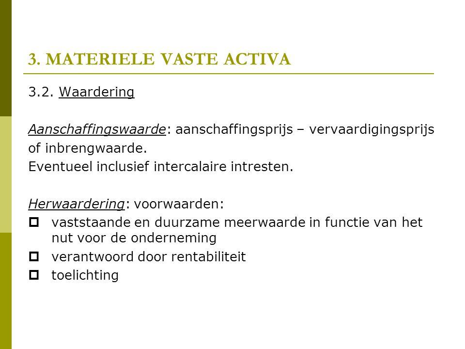 3. MATERIELE VASTE ACTIVA 3.2. Waardering Aanschaffingswaarde: aanschaffingsprijs – vervaardigingsprijs of inbrengwaarde. Eventueel inclusief intercal