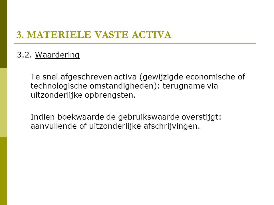 3. MATERIELE VASTE ACTIVA 3.2. Waardering Te snel afgeschreven activa (gewijzigde economische of technologische omstandigheden): terugname via uitzond