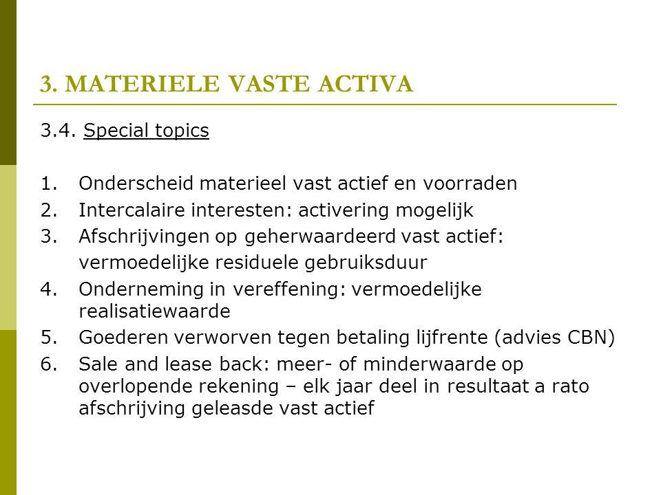 3. MATERIELE VASTE ACTIVA 3.4. Special topics 1.Onderscheid materieel vast actief en voorraden 2.Intercalaire interesten: activering mogelijk 3.Afschr