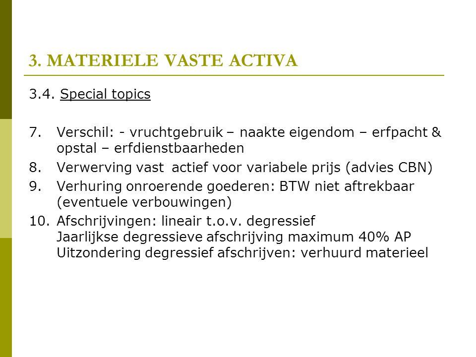 3. MATERIELE VASTE ACTIVA 3.4. Special topics 7.Verschil: - vruchtgebruik – naakte eigendom – erfpacht & opstal – erfdienstbaarheden 8.Verwerving vast