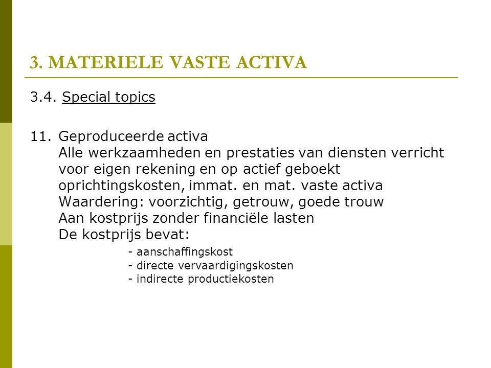 3. MATERIELE VASTE ACTIVA 3.4. Special topics 11.Geproduceerde activa Alle werkzaamheden en prestaties van diensten verricht voor eigen rekening en op