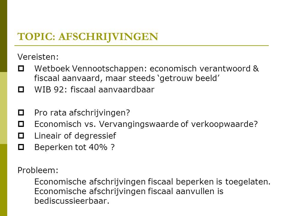 TOPIC: AFSCHRIJVINGEN Vereisten:  Wetboek Vennootschappen: economisch verantwoord & fiscaal aanvaard, maar steeds 'getrouw beeld'  WIB 92: fiscaal a