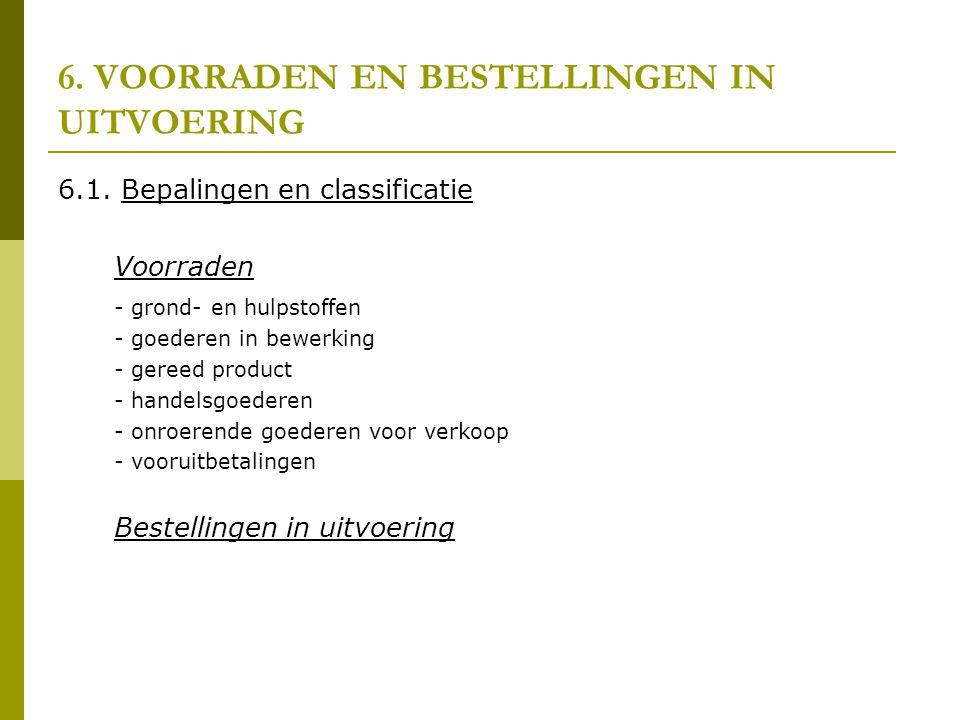 6. VOORRADEN EN BESTELLINGEN IN UITVOERING 6.1. Bepalingen en classificatie Voorraden - grond- en hulpstoffen - goederen in bewerking - gereed product