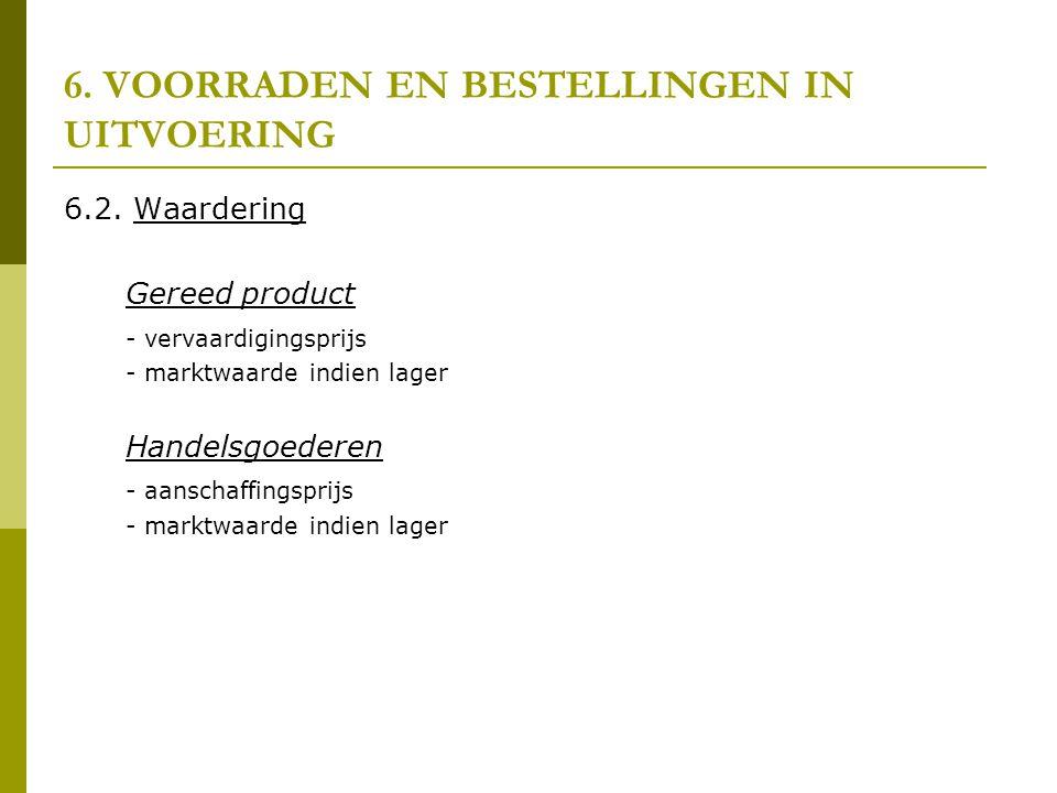 6. VOORRADEN EN BESTELLINGEN IN UITVOERING 6.2. Waardering Gereed product - vervaardigingsprijs - marktwaarde indien lager Handelsgoederen - aanschaff