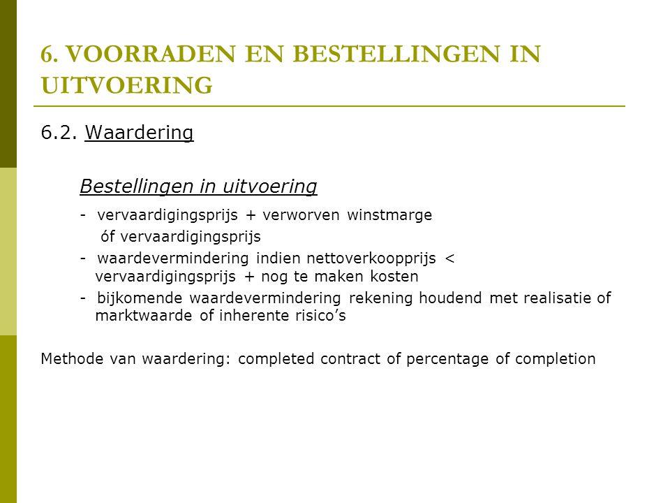 6. VOORRADEN EN BESTELLINGEN IN UITVOERING 6.2. Waardering Bestellingen in uitvoering - vervaardigingsprijs + verworven winstmarge óf vervaardigingspr