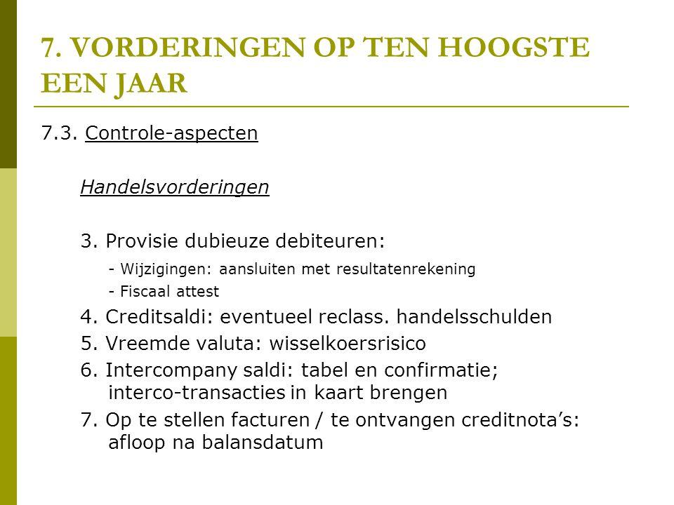 7. VORDERINGEN OP TEN HOOGSTE EEN JAAR 7.3. Controle-aspecten Handelsvorderingen 3. Provisie dubieuze debiteuren: - Wijzigingen: aansluiten met result