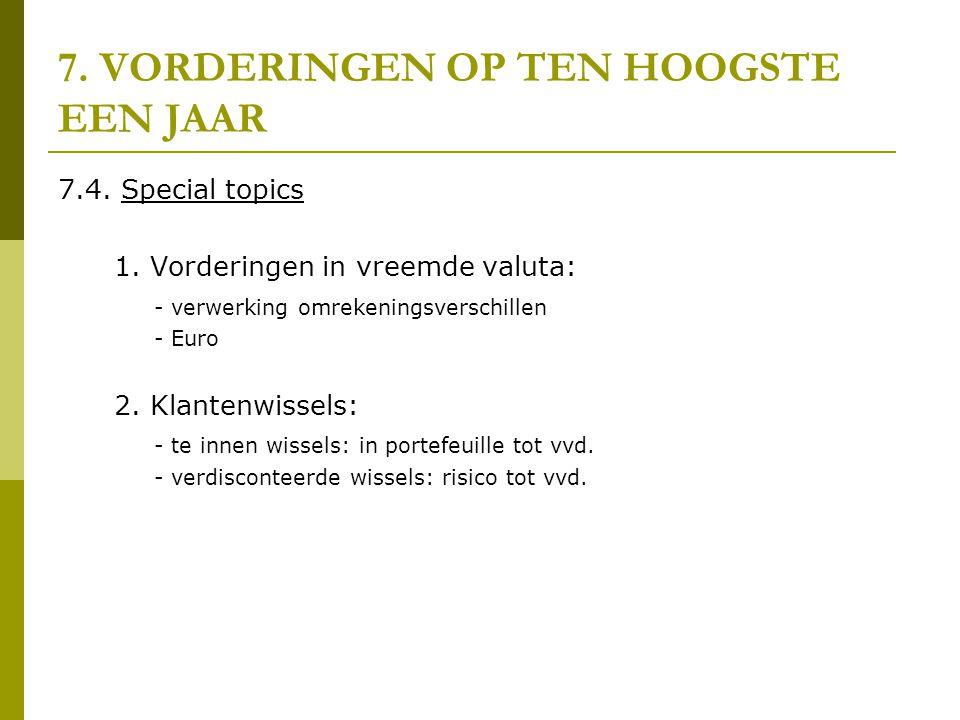 7. VORDERINGEN OP TEN HOOGSTE EEN JAAR 7.4. Special topics 1. Vorderingen in vreemde valuta: - verwerking omrekeningsverschillen - Euro 2. Klantenwiss