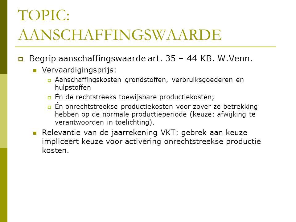 TOPIC: AANSCHAFFINGSWAARDE  Begrip aanschaffingswaarde art. 35 – 44 KB. W.Venn.  Vervaardigingsprijs:  Aanschaffingskosten grondstoffen, verbruiksg