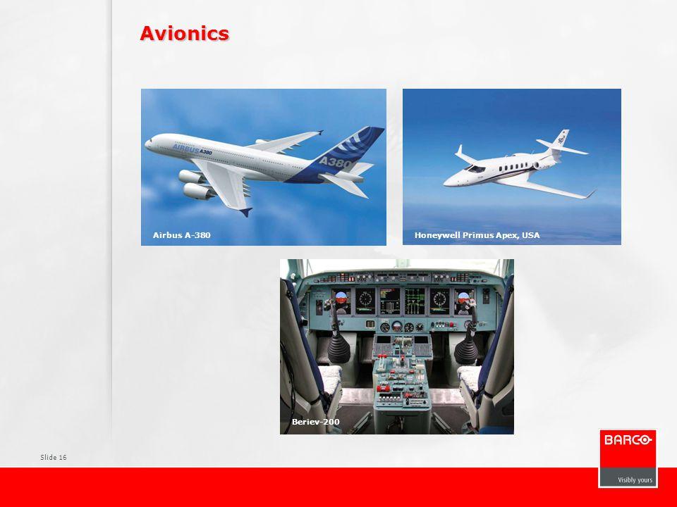 Slide 16 Avionics Airbus A-380Honeywell Primus Apex, USA Beriev-200