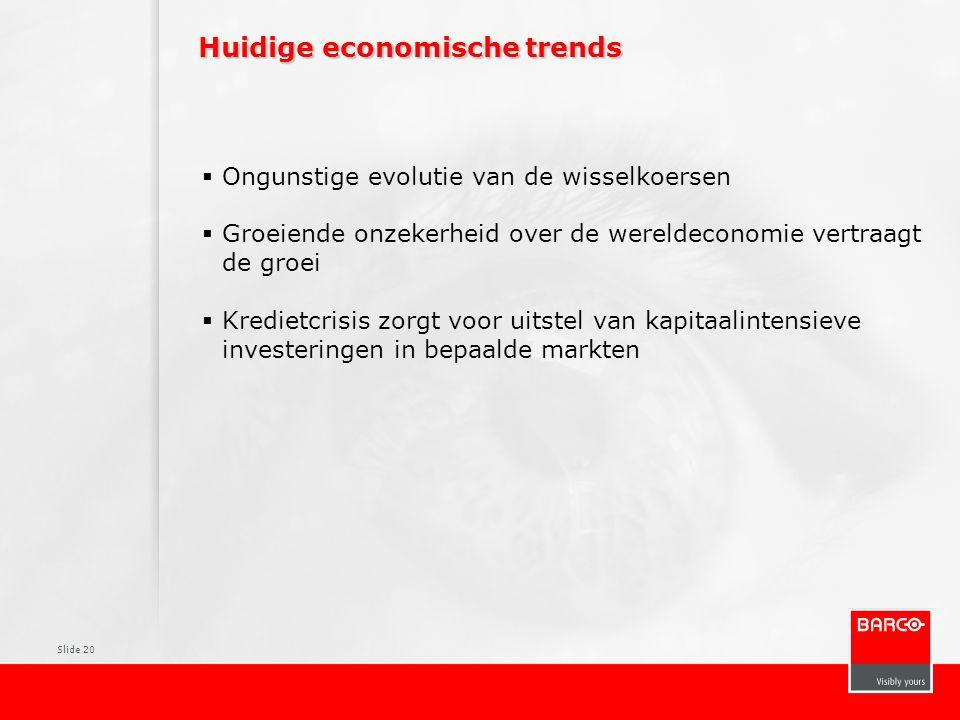 Slide 20 Huidige economische trends  Ongunstige evolutie van de wisselkoersen  Groeiende onzekerheid over de wereldeconomie vertraagt de groei  Kre