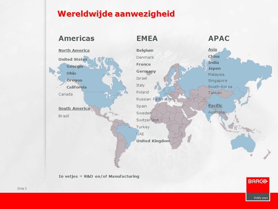 Slide 4 Overzicht van de markten waarin Barco actief is