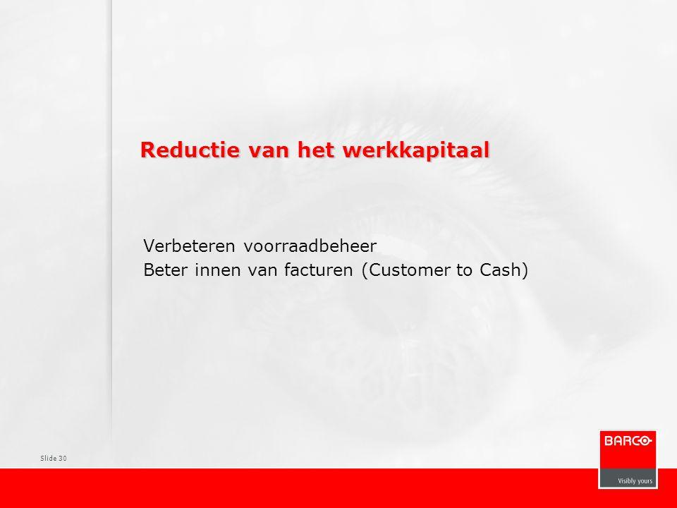 Slide 30 Reductie van het werkkapitaal Verbeteren voorraadbeheer Beter innen van facturen (Customer to Cash)