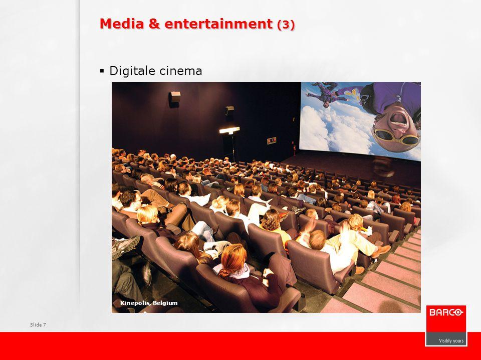Slide 28 Groei van de operationele winst Highlight: 5 markten die tot 50% van Barco's groei zouden kunnen uitmaken in de komende jaren m€ Marktomvang 2007 CAGR 07-11 Omzet Barco 2007 Marktaandeel 2007 Digital Cinema 15110-50%3629% Out of Home Media 17623%2615% Video & Lighting Integration 350*16%309% Medical modality 2159%2311% Broadcast 27714%166% *TAM 2008