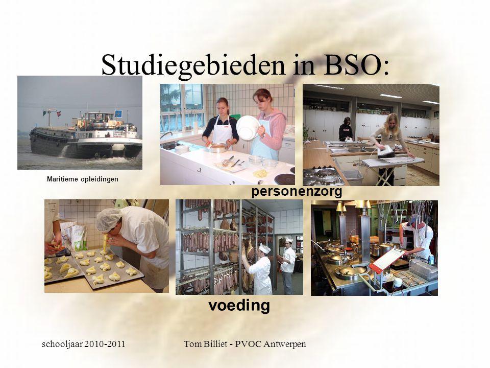 schooljaar 2010-2011Tom Billiet - PVOC Antwerpen Studiegebieden in BSO: personenzorg voeding Maritieme opleidingen