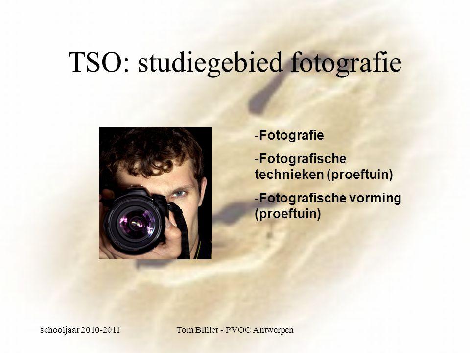 schooljaar 2010-2011Tom Billiet - PVOC Antwerpen TSO: studiegebied fotografie -Fotografie -Fotografische technieken (proeftuin) -Fotografische vorming (proeftuin)