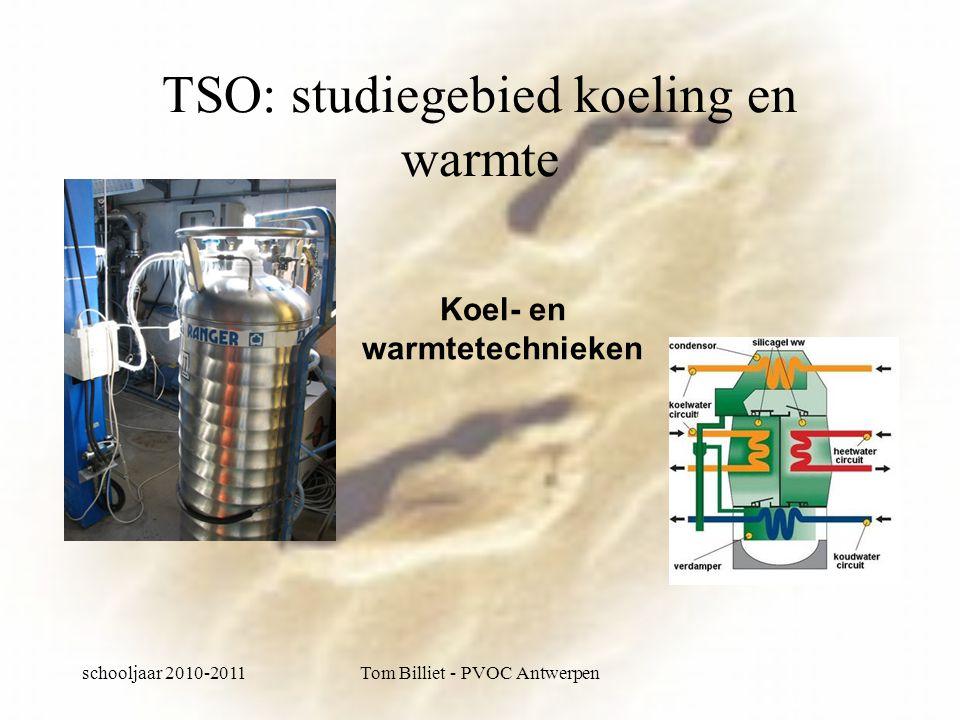 schooljaar 2010-2011Tom Billiet - PVOC Antwerpen TSO: studiegebied koeling en warmte Koel- en warmtetechnieken