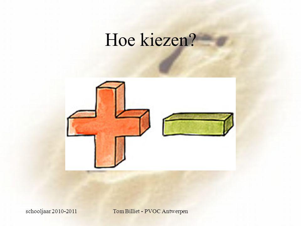 schooljaar 2010-2011Tom Billiet - PVOC Antwerpen Hoe kiezen