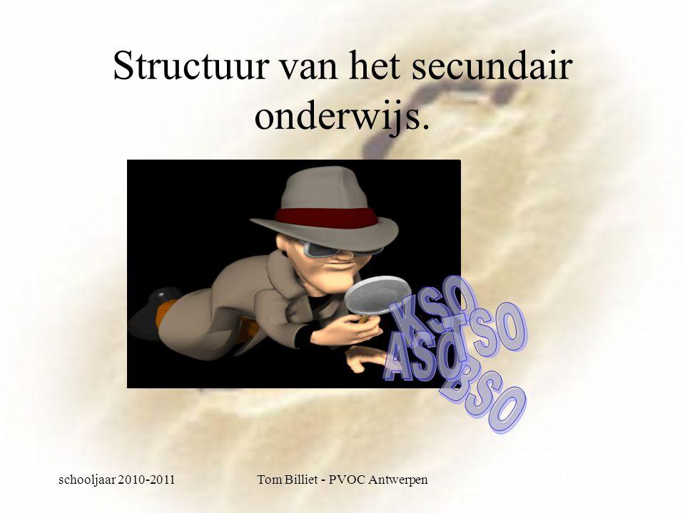 schooljaar 2010-2011Tom Billiet - PVOC Antwerpen Structuur van het secundair onderwijs.